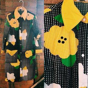 Vintage 70s Multicolor Graphic Floral Snap Dress